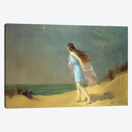 Girl on the beach Canvas Print #BMN4634} by Frank Richards Canvas Wall Art