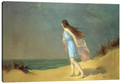 Girl on the beach Canvas Art Print