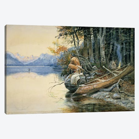 A Camp Site by the Lake, 1908  Canvas Print #BMN4644} by Charles Marion Russell Canvas Print