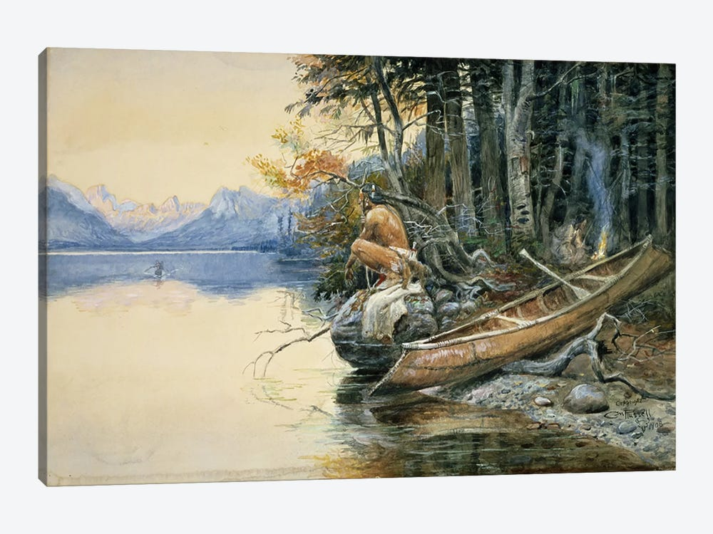 A Camp Site by the Lake, 1908 by Charles Marion Russell 1-piece Canvas Print