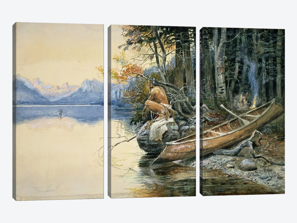 A Camp Site by the Lake, 1908 by Charles Marion Russell 3-piece Canvas Print