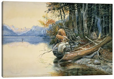 A Camp Site by the Lake, 1908  Canvas Art Print