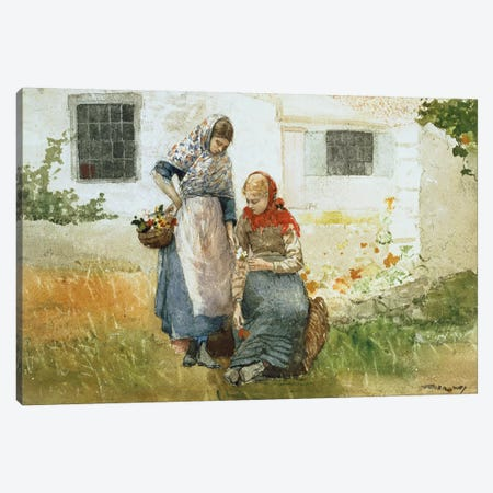 Picking Flowers, 1881  Canvas Print #BMN4646} by Winslow Homer Art Print