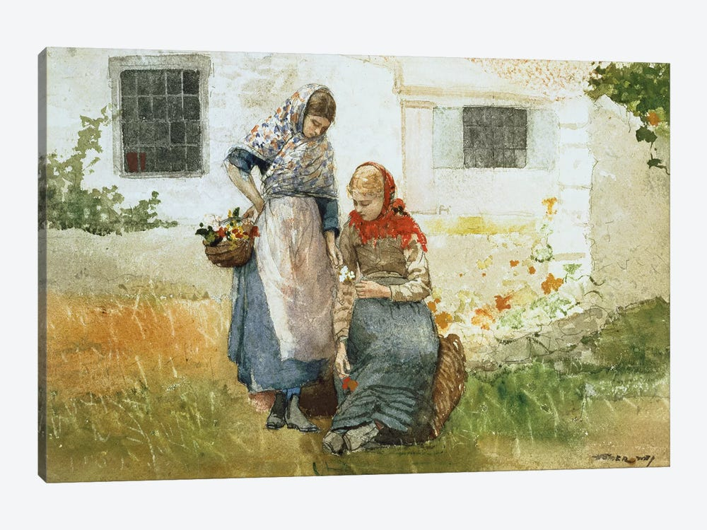 Picking Flowers, 1881  by Winslow Homer 1-piece Canvas Print