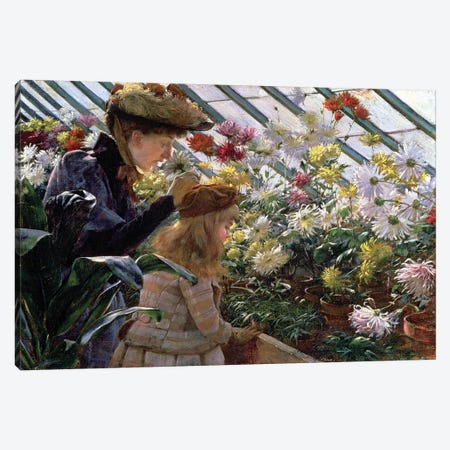 Chrysanthemums, 1890  Canvas Print #BMN4649} by Charles Courtney Curran Canvas Artwork