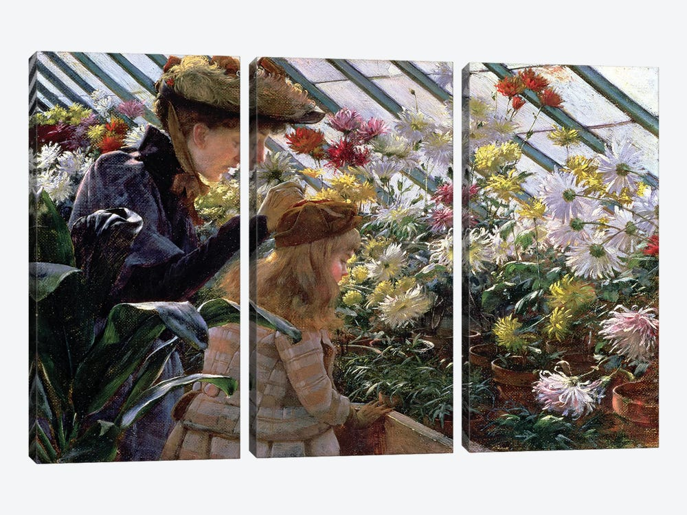 Chrysanthemums, 1890  by Charles Courtney Curran 3-piece Canvas Wall Art