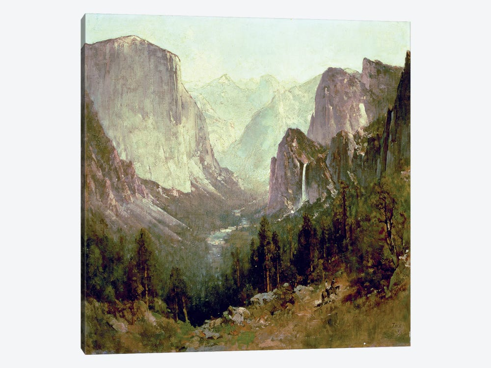 Hunting in Yosemite, 1890  by Thomas Hill 1-piece Canvas Print