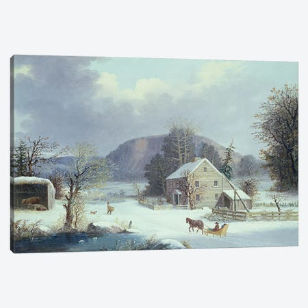 New England Farm by a Winter Road, 1854  Canvas Print #BMN4657} by George Henry Durrie Canvas Wall Art