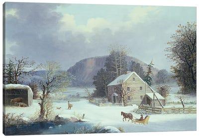 New England Farm by a Winter Road, 1854  Canvas Art Print