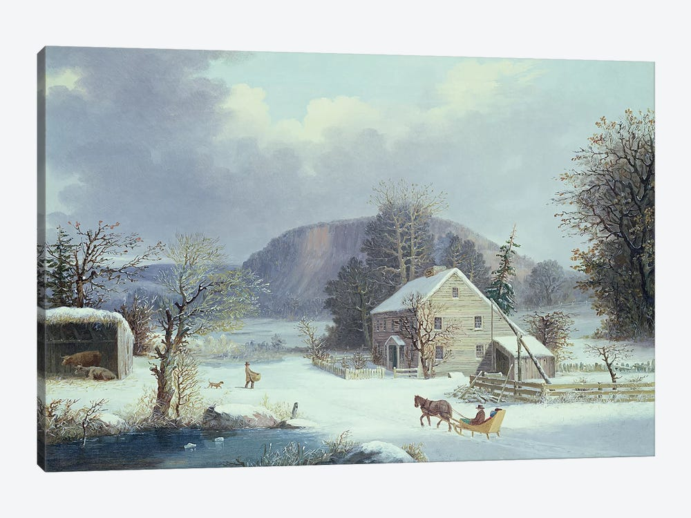 New England Farm by a Winter Road, 1854  by George Henry Durrie 1-piece Art Print