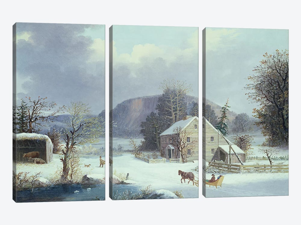 New England Farm by a Winter Road, 1854  by George Henry Durrie 3-piece Canvas Print