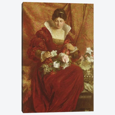 A Lady arranging flowers Canvas Print #BMN465} by Sir Hubert von Herkomer Canvas Print