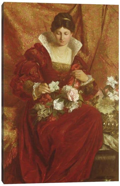 A Lady arranging flowers Canvas Art Print