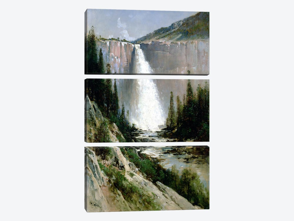Bridal Veil Falls, Yosemite  by Thomas Hill 3-piece Canvas Wall Art