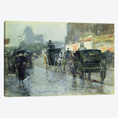 Horse Drawn Cabs at Evening, New York, c.1890  Canvas Print #BMN4671} by Childe Hassam Canvas Print
