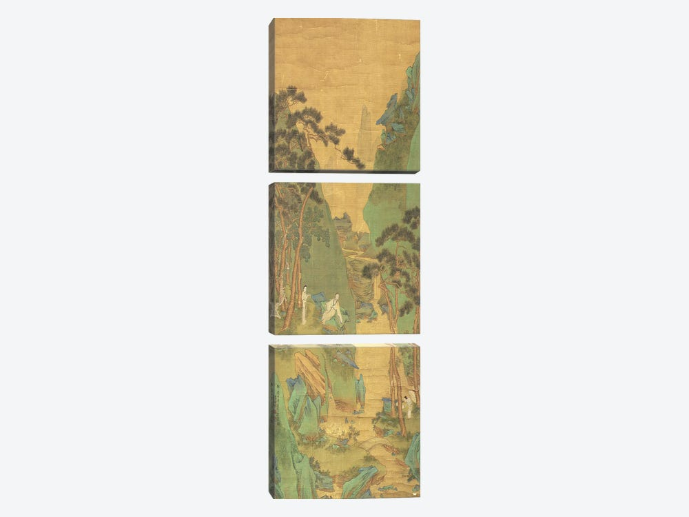 A Scholar Listening to a Waterfall  by Li Shizuo 3-piece Canvas Wall Art
