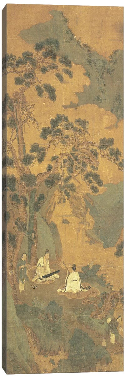 Two Scholars playing the Qin and Erhu under a Pine Tree  Canvas Art Print