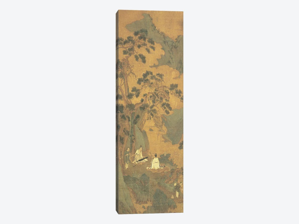 Two Scholars playing the Qin and Erhu under a Pine Tree  by Qiu Ying 1-piece Canvas Print