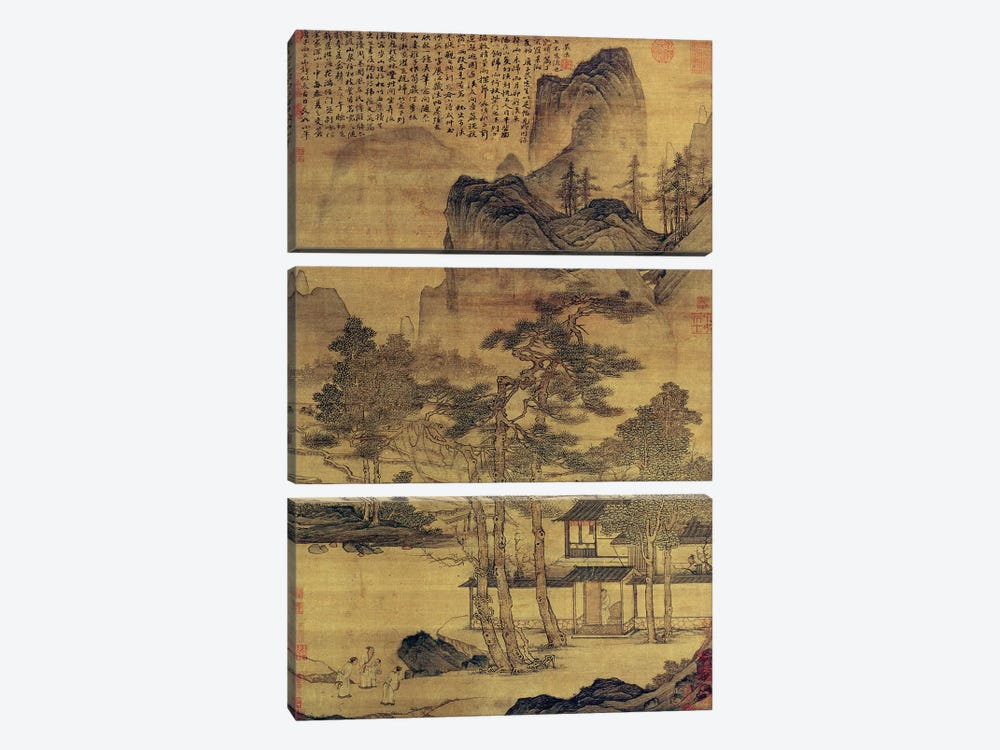 Scenes of Hermits' Long Days in the Quiet Mountains  by Tang Yin 3-piece Canvas Artwork
