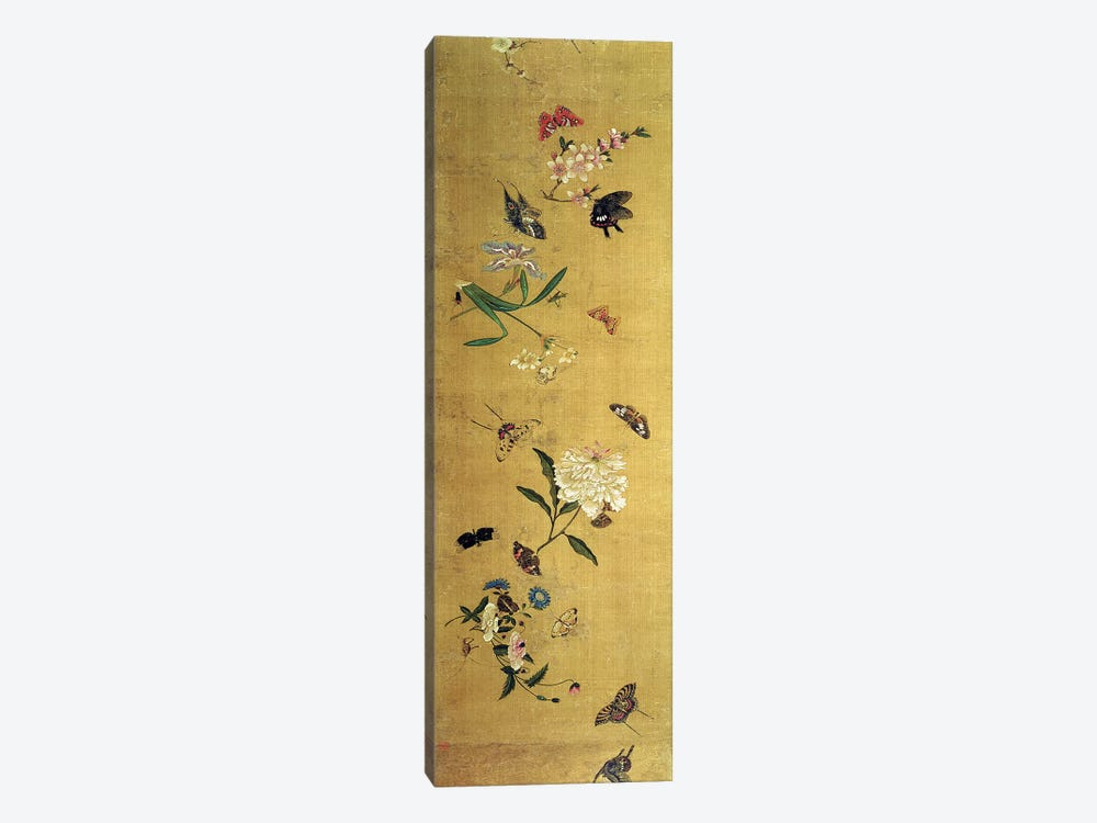 One Hundred Butterflies, Flowers and Insects, detail from a handscroll  by Chen Hongshou 1-piece Canvas Print