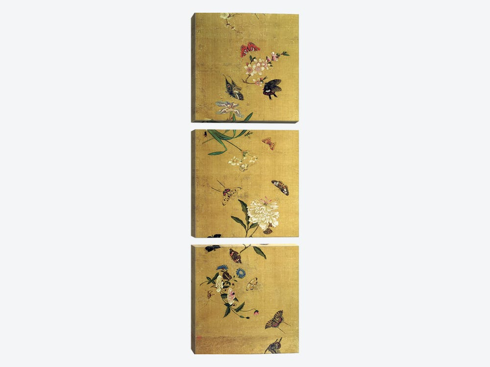 One Hundred Butterflies, Flowers and Insects, detail from a handscroll  by Chen Hongshou 3-piece Canvas Print