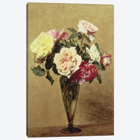 Roses in a Vase, 1892  Canvas Print #BMN4678} by Ignace Henri Jean Theodore Fantin-Latour Art Print