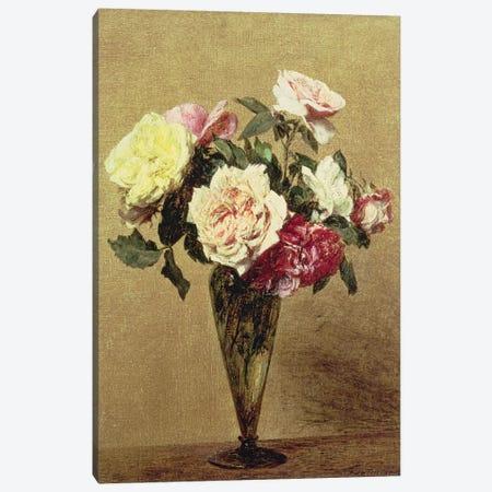 Roses in a Vase, 1892  Canvas Print #BMN4678} by Ignace Henri Jean Theodore Fantin-Latour Art Print