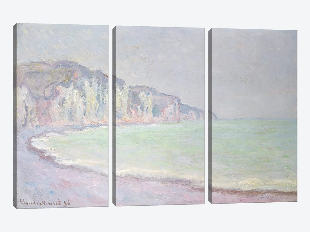 Cliffs at Pourville, 1896  by Claude Monet 3-piece Art Print