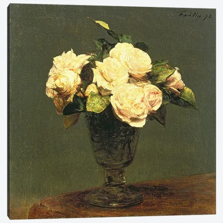 White Roses, 1873 Canvas Print #BMN4680} by Ignace Henri Jean Theodore Fantin-Latour Canvas Artwork