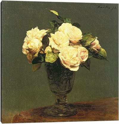 White Roses, 1873 Canvas Art Print