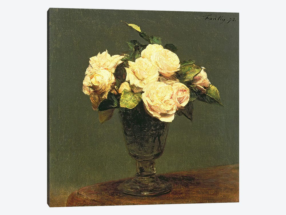 White Roses, 1873 by Ignace Henri Jean Theodore Fantin-Latour 1-piece Canvas Art Print