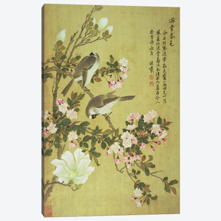 Crabapple, Magnolia and Baitou Birds  3-Piece Canvas #BMN4683} by Ma Yuanyu Canvas Art