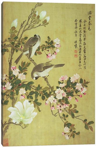 Crabapple, Magnolia and Baitou Birds  Canvas Art Print