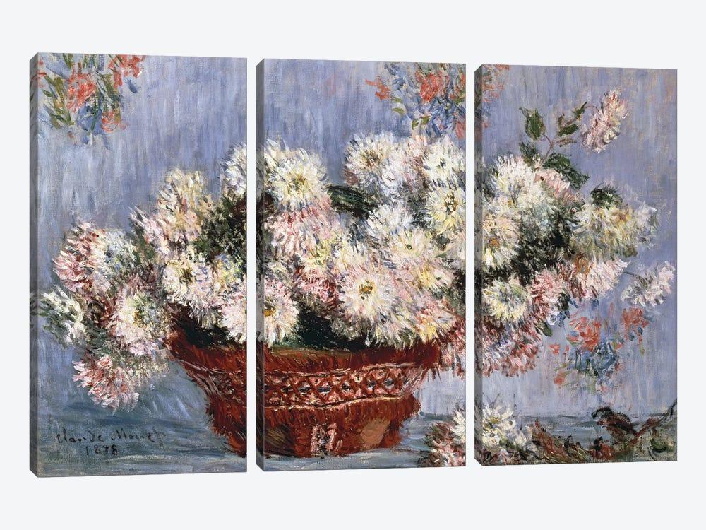 Chrysanthemums, 1878  by Claude Monet 3-piece Canvas Artwork