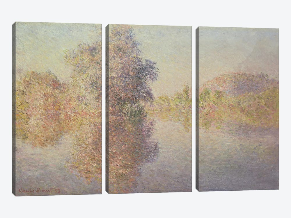 Morning on the Seine at Giverny, 1893  by Claude Monet 3-piece Canvas Art Print