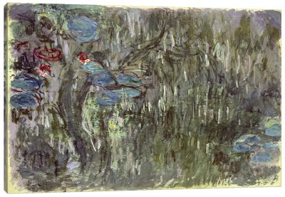 Waterlilies with Reflections of Willows, c.1920  Canvas Print #BMN4689