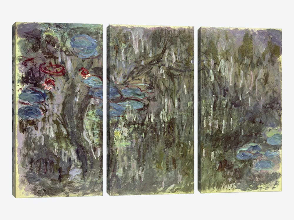Waterlilies with Reflections of Willows, c.1920  by Claude Monet 3-piece Canvas Artwork
