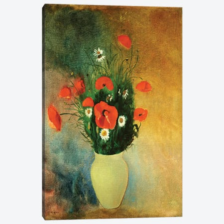 Poppies and Daisies, c.1913  Canvas Print #BMN4695} by Odilon Redon Canvas Wall Art