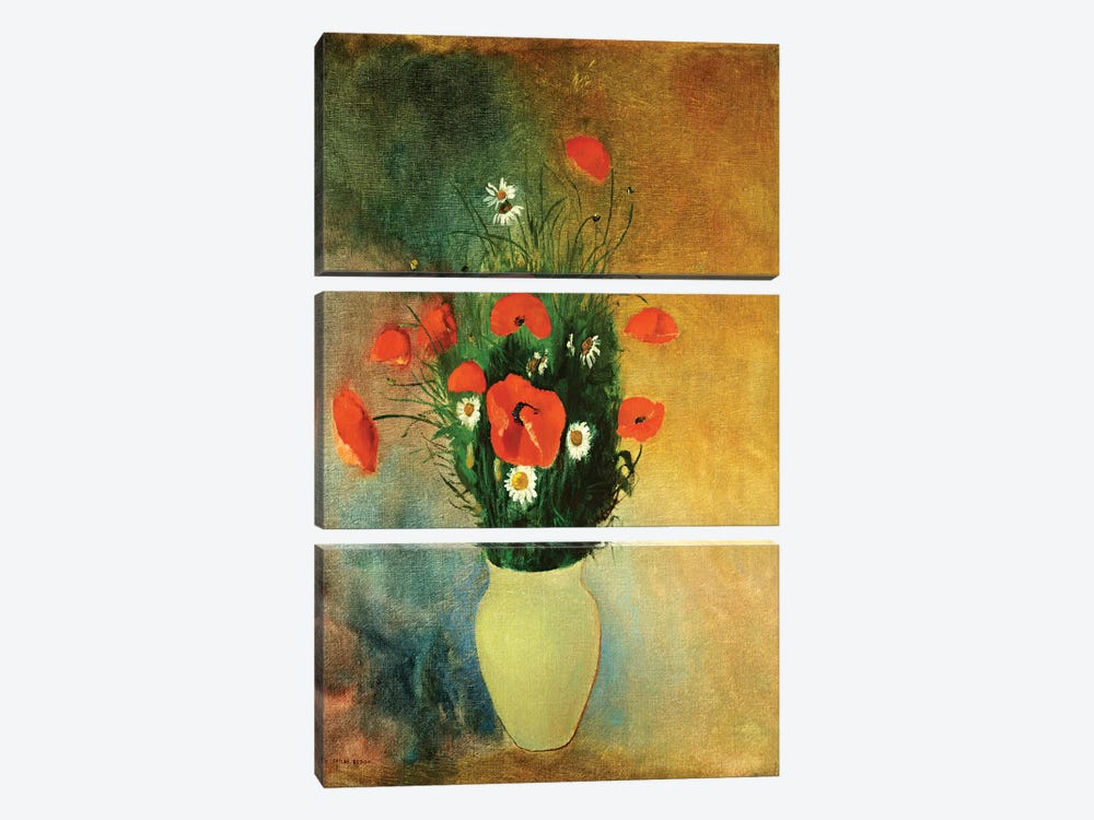 Poppies and Daisies, c.1913  by Odilon Redon 3-piece Canvas Print