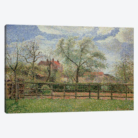 Pear Trees and Flowers at Eragny, Morning, 1886  Canvas Print #BMN4696} by Camille Pissarro Canvas Wall Art