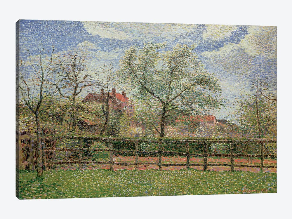 Pear Trees and Flowers at Eragny, Morning, 1886  by Camille Pissarro 1-piece Canvas Artwork