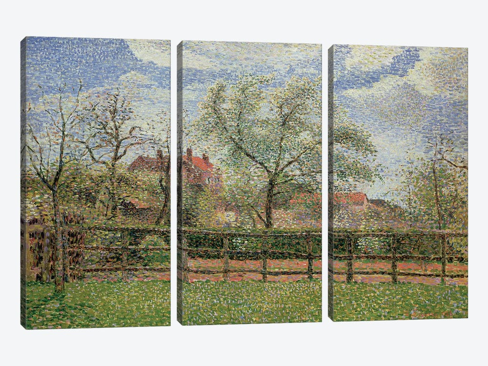 Pear Trees and Flowers at Eragny, Morning, 1886  by Camille Pissarro 3-piece Canvas Art