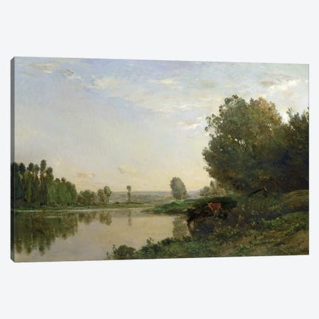 The Banks of the Oise, Morning, 1866  Canvas Print #BMN469} by Charles Francois Daubigny Canvas Art