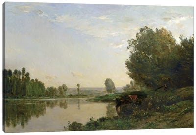 The Banks of the Oise, Morning, 1866  Canvas Art Print
