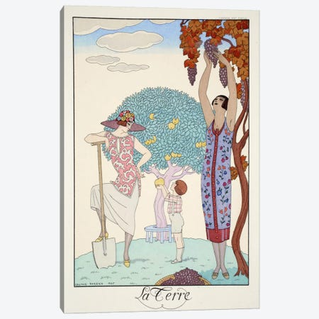 Earth, from 'Falbalas & Fanfreluches, Almanach des Modes Présentes Canvas Print #BMN46} by George Barbier Canvas Art Print