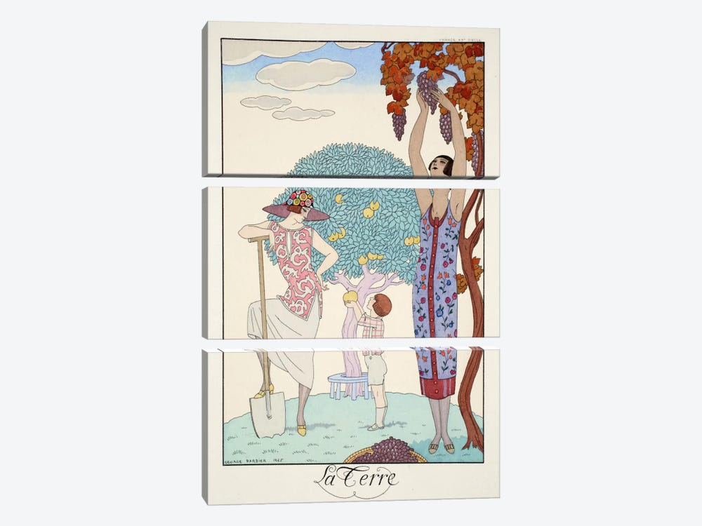 Earth, from 'Falbalas & Fanfreluches, Almanach des Modes Présentes by George Barbier 3-piece Canvas Artwork