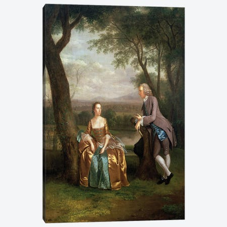 Portrait of a Couple, possibly Daniel and Mary Swaine of Leverington Hall, Isle of Ely, Cambridgeshire, c.1753  Canvas Print #BMN4704} by Arthur Devis Canvas Wall Art