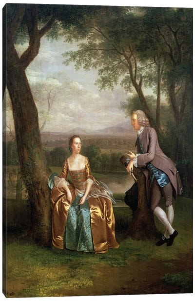 Portrait of a Couple, possibly Daniel and Mary Swaine of Leverington Hall, Isle of Ely, Cambridgeshire, c.1753  Canvas Art Print