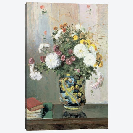 Bouquet of Flowers, Chrysanthemums in a Chinese Vase  Canvas Print #BMN4706} by Camille Pissarro Canvas Artwork