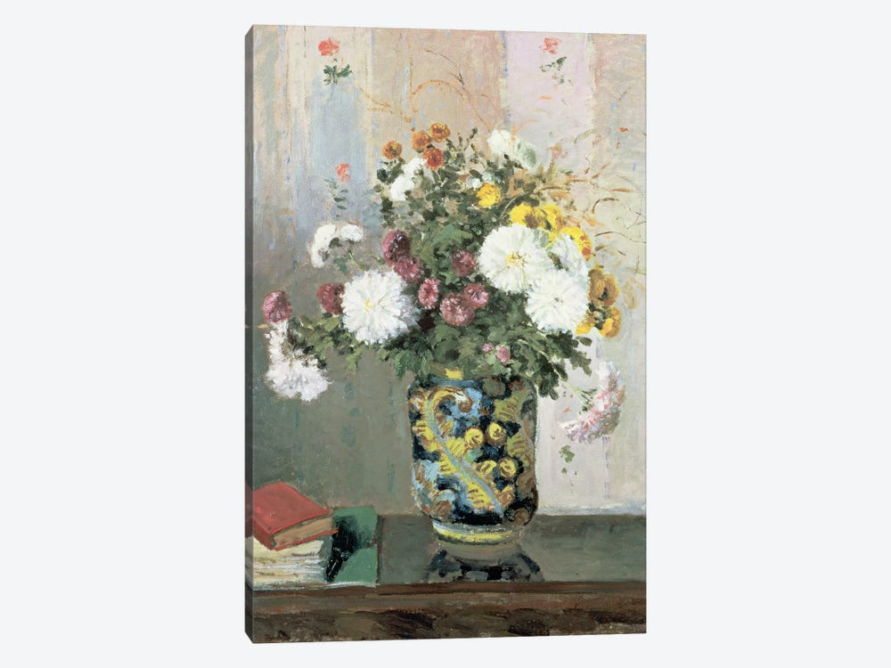 Bouquet of Flowers, Chrysanthemums in a Chinese Vase  by Camille Pissarro 1-piece Canvas Artwork